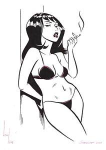 original drawing A4 722KV art samovar Marker modern female nude illustration