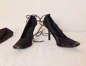 Gucci Designer Black Square Toe Stiletto Heels Ankle Tie Size 38C UK 5