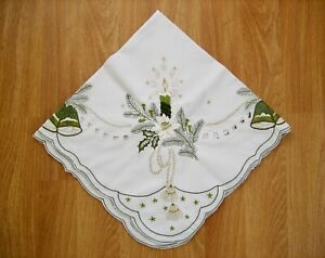 SMALL CHRISTMAS TABLE CLOTH with embroidered CANDLES, BELLS, STARS - 84cms sq.