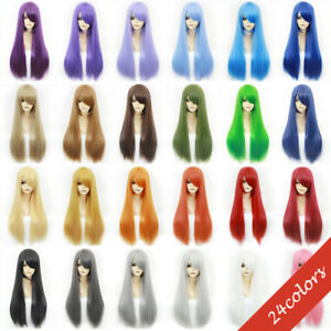 24 Colors Anime Cosplay Wig Black Red Brown Long Straight Curly Wavy Women