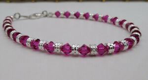 m/w Swarovski Crystal Fuchsia Bicone & Silver Rondel Beaded Anklet or Bracelet