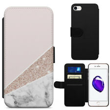 Rose Gold Glitter Effect White Marble Leather Flip Wallet Phone Case Cover