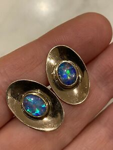 """Antique 9ct Gold Cufflinks With Opal Signed """"Britannic"""""""