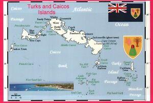 Map of Turks and Caicos Islands near Bahamas & Caribbean Sea, British - Postcard