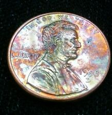 Unusual crazy toned rainbow penny Lincoln Memorial 1998 d natural toning