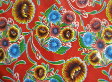 RED BLOOM MEXICAN FIESTA PICNIC PATIO BBQ RETRO OILCLOTH VINYL TABLECLOTH 48x108
