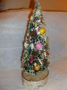 """1940s VTG 11"""" Flocked  Bottle Brush Xmas Tree Fruit Pine Cones Glitter C13"""
