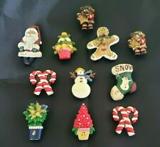 New listing Lot 11 Christmas Holiday Button Covers Vintage Snowman C. Cane Gingerbread Santa
