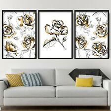 Set of 3 Gold Floral Abstract Rose Flower Wall Art Print Picture Poster