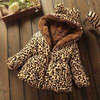 Baby Toddler girls winter Add wool leopard grain Hooded Coat Outerwear Jacket
