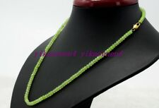 "New Natural 2x4mm Green Peridot Faceted Rondelle Gemstone Beads Necklace 18""AA"
