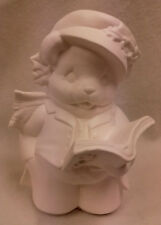 """Paint Your Own Ceramic Bisque - Boy Caroller Bear - approx 8"""" tall"""