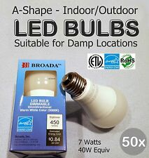 50x Lot - LED 7w Bulbs Dimmable A19 E26 Indoor/Outdoor Damp Loc 40w Equiv-Broada