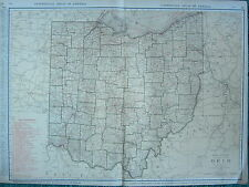 1922 LARGE AMERICA MAP ~ OHIO SHOWING RAILROADS PRINCIPAL CITIES ~  RAND MCNALLY