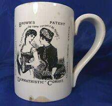 More details for antique victorian advertising pint pot mug brown's patent dermathistic corset