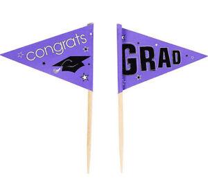 GRADUATION Party CUPCAKE FLAG PICKS  Congrats Grad 12pcs PURPLE School Colors