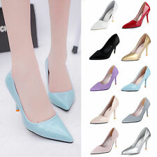 Ladies High Heels Patent Leather Pointed Toe Corset Working Pumps Court Shoes