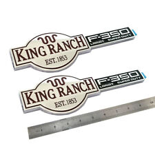 2x OEM Chrome King Ranch F350 3D Glossy Emblems Badges Door Tailgate for F-350