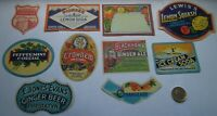10 DIFFERENT ANTIQUE COLOURFUL  DRINK LABELS- INCLUDES RARE LABELS