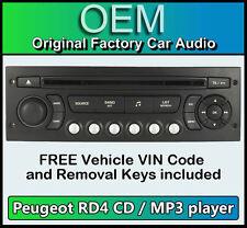 PEUGEOT 207 STEREO AUTO MP3 CD PLAYER PEUGEOT RD4 Radio + GRATIS VIN codice e chiavi