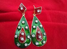 Indian Handmade Ethnic Green Meenakari Elegant AD Stone Party Wear Long Earrings