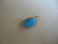 Lovely VICTORIAN LINGERIE LACE PIN - Turquoise Blue Glass in Gold Filled