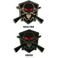 Tactical Combat Hat Morale Embroidered Patch Badge Hook and Loop - Skull Shield