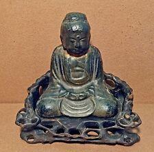Antique Buddha Cast Iron with Wooden Seat Statue Door Stop Original Patina <ZEN>