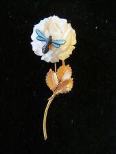 Vintage Wells 14K Gold Filled Carved Rose Brooch/Pin with Blue Enamel Bee-Unique