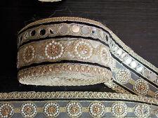 Miroir noir bordure dentelle or Indien Mariage Danse Costume Ruban Cristal Applique