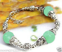 Beautiful handmade the Tibet silver green jade bracelet 7.5 ~ 8 inches