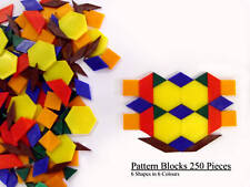 Pattern Blocks - 250 Pieces Teaching / Learning / School (6 Shapes & 6 Colours)