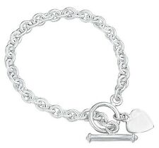 T Bar Bracelet Solid Sterling Silver Heart Charm 18.3 grams