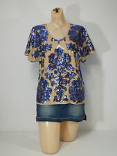 Neiman Marcus Tracy Reese Womens Blue & Tan Seqiun Top Shirt SZ X-Small $79.99