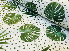 Green Polka Dot Palm Leaf Cotton Fabric - tropical leaves curtains -140cm wide