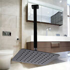 "Square BLACK 8"" 200MM Rain Thin Shower Head Rose Set Ceiling Overhead Arm WELS"