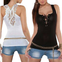 Women V-Neck Bandage Tank Top Lace Halter Top Lady Sleeveless Camisole Blouse