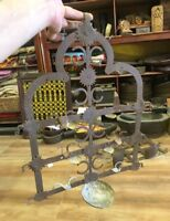 Antique Old Iron Hand Forged Tribal House Sun Figure Hanging Big Oil Lamp