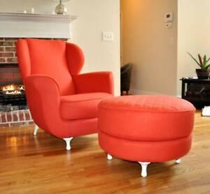 Italian Moroso Big Mama Sculptural Club Chair & Ottoman