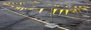 CLOSEOUT 15 SETS GALVANIZED WARNING LINE SYSTEM 100' PENNANT 4 PLATFORMS FLAGS