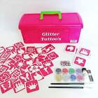 Princess Glitter Tattoo Kit - 97 Stencils Glitter glue Brushes Storage Box