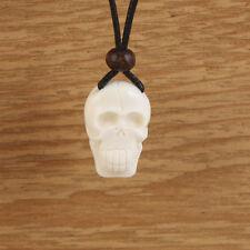 Skull Necklace Carved Bone Mens Boys White Pendant Tribal Black Cord