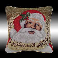 """CHIC TAPESTRY CHRISTMAS SANTA BOTH SIDES THROW PILLOW CASE CUSHION COVER 16"""""""