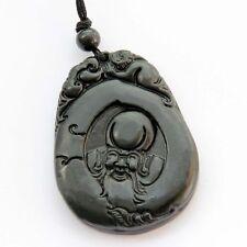 God Chinese Zodiac Monkey Amulet Pendant Black Green Jade Happy Lucky Longevity