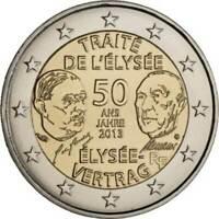 France, 2 Euro, 2€ , Traité de lElysée, 2013, Bi-Metallic , UNC COIN .