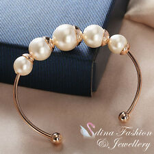 18K Rose Gold Plated Popular Five Large Simulated Pearl Cuff Bangle Jewellery