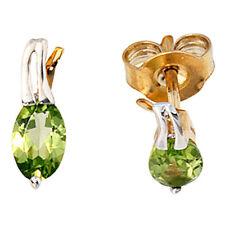Echter Edelsteine-Ohrschmuck aus Gelbgold mit Peridot und Butterfly-Verschluss für Damen