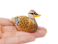 Female Mallard - Miniature Hand-Painted Wooden Duck Folk Art Decoy Mini Carved