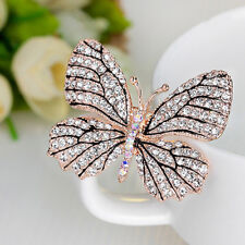 Women Fashion Rhinestone Butterfly Brooch Pin Evening Party Jewelry Ornate