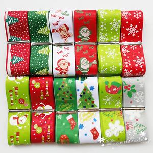 "12Yard 1""  25mm Merry Christmas Grosgrain Ribbon Appliques Snowflake Beer Claus"